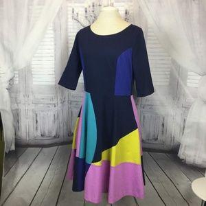 Boden Blue Dress Fit & Flare Color Block Sz 10R